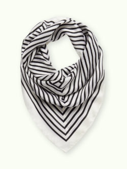 Black and White Striped Satin Scarf 7