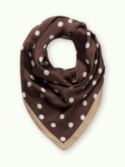 Brown and White Dotted Satin Scarf 6