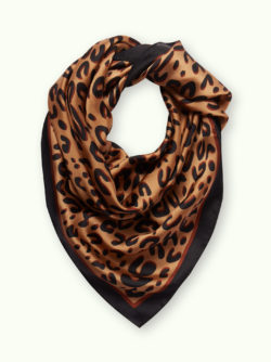Red and Cheetah Print Satin Scarf 13